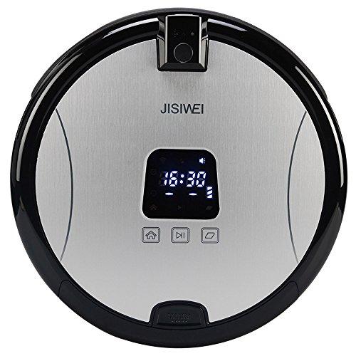 JISIWEI S+ - Robot Aspirador Inteligente con Cámara Vigilancia 1080P Wifi Infrarrojo,Control Remoto por App(Diámetro: 35 cm,Compatible con Andriod,IOS,Color Plateado)