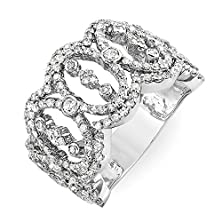buy 1.65 Carat (Ctw) 14K White Gold Round Diamond Ladies Cocktail Designer Right Hand Ring (Size 7)