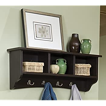 Alaterre ASCA04CL Shaker Cottage Coat Hooks with Storage, Chocolate