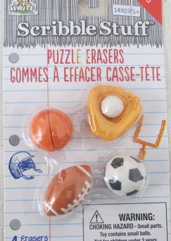 Scribble Stuff Puzzle Erasers - Sports