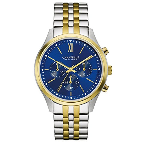 Caravelle New York Men's Quartz Watch with Blue Dial Chronograph Display and Two Tone Stainless Steel Plated Bracelet 45A131
