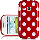 CNL RED POLKA DOT PATTERNED GEL CASE SKIN COVER FOR THE SAMSUNG GALAXY YOUNG S6310 HANDSET