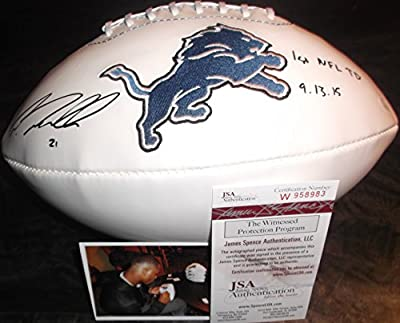 """Ameer Abdullah Detroit Lions Autographed Signed White Logo Football """"1st NFL TD 9.13.15"""""""