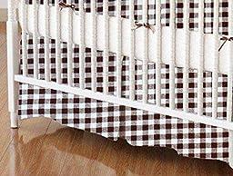 SheetWorld - Crib Skirt (28 x 52) - Brown Gingham Check - Made In USA