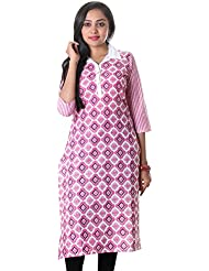 Bright White With Raspberry Sorbet Shirt Collar Open Placket Slub-Cotton Kurta From ESTYLe