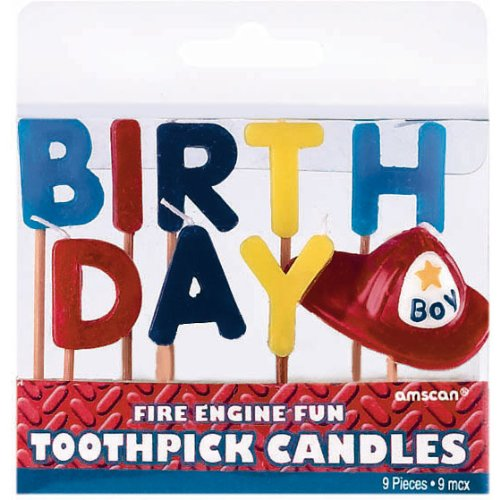 Fire Engine Fun Pick Candles (9 per package) - 1