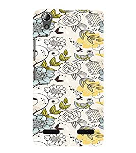 iFasho Animated Pattern colrful design flower and cage and birds Back Case Cover for Lenovo A6000
