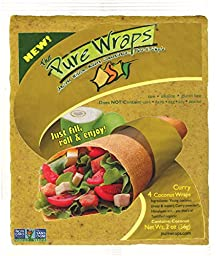 Pure Wraps, Paleo Coconut Wraps, Curry Flavor, 4 Count