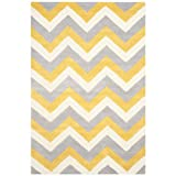Safavieh Cambridge Collection CAM153A Handmade Grey and Gold Wool Area Rug, 3 feet by 5 feet (3' x 5')