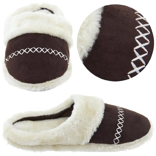 Cheap Dark Brown Slip On Slippers with Faux Fur for Women (B004F1PM26)