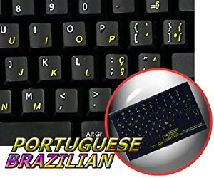 PORTUGUESE BRAZILIAN KEYBOARD STICKER WITH BLUE LETTERING ON TRANSPARENT BACKGROUND FOR DESKTOP LAPTOP AND NOTEBOOK