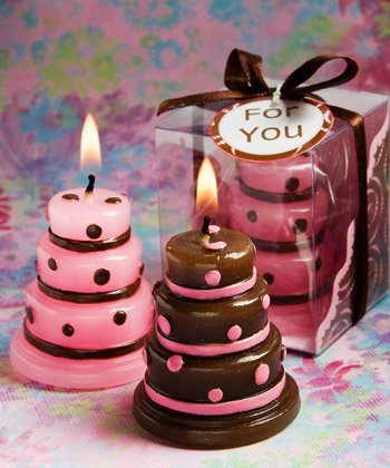 Pack of 10 Cake candles pink/brown in clear PVC box