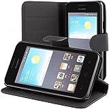 ECENCE Huawei Ascend Y330 handy tasche case Brieftasche Wallet klapp schutz hülle cover inklusive Displayschutzfolie Book-Style mit Standfunktion Standfuss schwarz 11030302