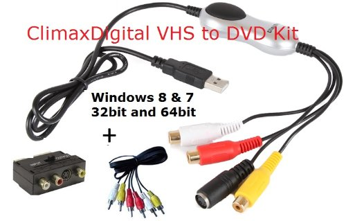ClimaxDigital VCAP303 USB 2.0 Video capture with Audio + DVD/VCD Maker from video source: VHS, V8, Hi8 for laptop/PC,video recorder, camcorder, DVD player or Satellite TV receiver,supports *XP/Vista 32/Vista 64/Window 7/8 32&64*)+Support Xbox 360/PS3 colo