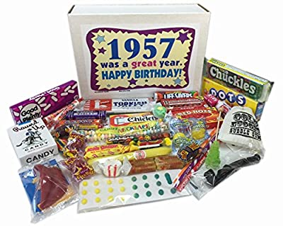 1957 Retro Nostalgic Candy Decade 59th Birthday Gift Basket Box Jr. 50s