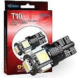 T10 LED ウエッジタイプ 電球, Yorkim® 2015年最新、五世代,車内ランプ W5W 194 168 2825 5連 5050 チップ SMD,置換ナンバー灯、クリアランスランプ、高輝度環境省エネランプ(10個 セット)
