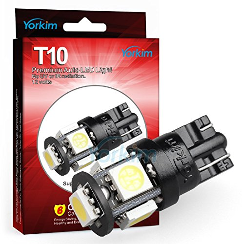 194 LED Light bulb, Yorkim® 2015 Newest, 5th Generation, Interior Lights for W5W 194 168 2825 T10 Wedge 5-smd 5050, Replacement and Reverse T10 White Bulbs, Used For Signal Lights, Trunk Lights, Dashboard Lights, Parking Lights, With Great Brightness and Longer Life(Pack of 10)