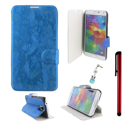 Ancerson Fashion Oil Painting Design Magnetic Magnet Buckle Pu Leather Protective Flip Case Cover Shell Skin Stand For Samsung Galaxy S5/ Gs 5 V I9600 At&T G900A/ Sprint G900P/ Verizon G900V/ T-Mobile G900T With A Red Stylus Touchscreen Pen And A 3.5Mm Cr