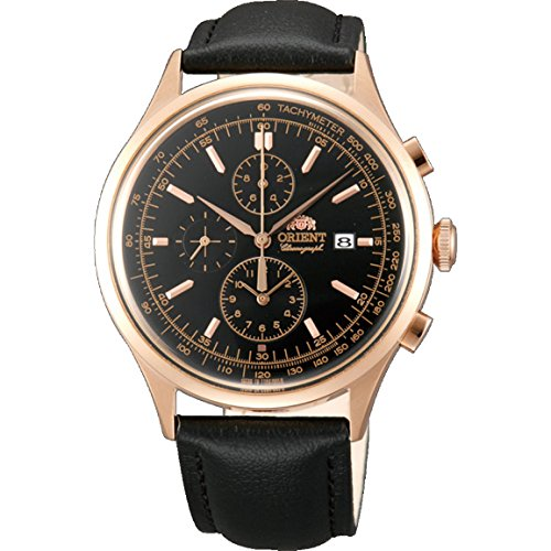 Orient FTT0V001B0 Gold Plated Stainless Steel Case Black Calfskin Mineral Men's Watch