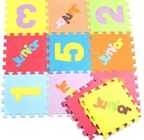 Bigood 10tlg. Spielmatte Kinderteppich Puzzlematte Spielteppich Schaumstoffmatte die Zahl/Ziffer und Englisch