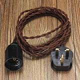 3M E27 Vintage Twisted Fabric Cable UK Plug In Pendant Lamp Light Bulb Holder Socket-coffee