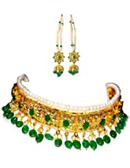 High Fashion Emerald Green Metal Hyderabadi Nizams Jadau Bridal Necklace Set For Women
