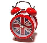 超キュート イギリス ユニオンジャック 目覚まし時計 時計 クロック (赤)