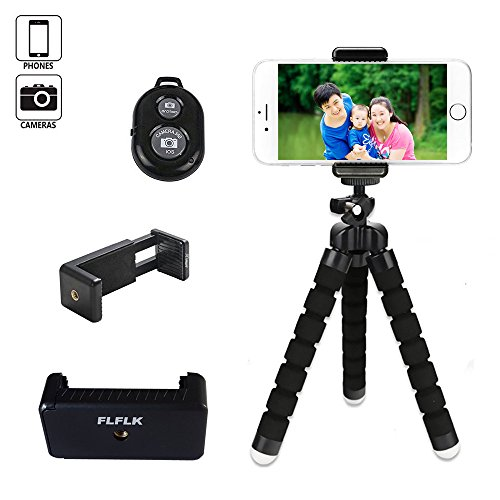 FLFLK-Flexible-Octopus-iPhone-Tripod-Stand-Holder-with-Remote-for-Smart-Phone-Digital-Camera-Black