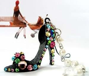 SWT Black Charm Elegant Crystal Rhinestone Ideal for Mobile Phone / Cell Phone / Bag / High Heel Shoe / Keyring / Pendant --- Great Gift