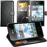 Original Lanboo® Wallet / Buch Tasche mit Magnetverschluss für LG Optimus L3 - E400 - Schwarz