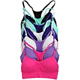 ToBeInStyle Women's Pack Of 6 Padded Racerback Sports Bras - OS