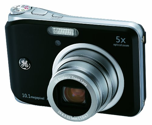 GE A1050-BK 10MP Digital Camera with 5X Optical Zoom and 2.5 Inch LCD with Auto Brightness- Black