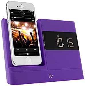 KitSound XDOCK 2 Radio Réveil avec Station d'Accueil et Connecteur Lightning pour iPhone 5/5S/5C/6 (12cm)/iPod Nano 7/iPod Touch 5 - Livré avec Prise EU - Mauve