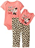 Disney Baby-Girls Newborn Minnie Mouse 3 Piece Print Bib Set, Red Music, 6-9 Months