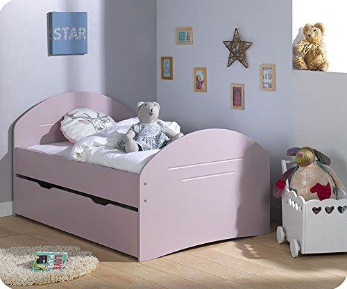 Paket Mitwachsendes Kinderbett Spoom rosa mit Schublade und Matratze