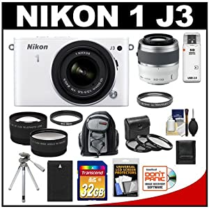 Nikon 1 J3 Digital Camera Body with 10-30mm VR Lens (White) with 30-110mm Lens + 32GB Card + Battery + Backpack + Tripod + Telephoto & Wide-Angle Lenses + Accessory Kit