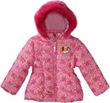 Disney Princess Little Girls'  Princesses All-Over Puffer Coat, Pink, 2T