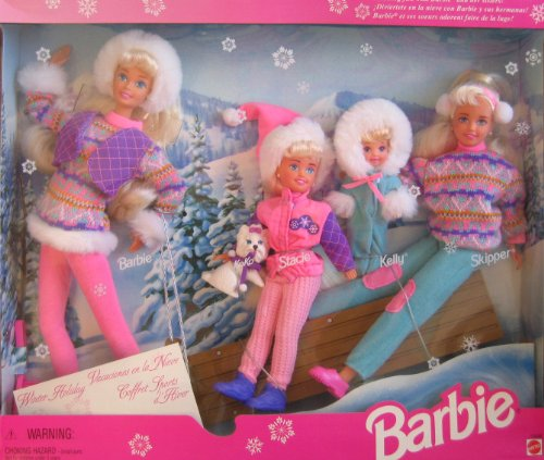 51qnr9kb3RL Cheap Buy  Winter Holiday BARBIE Gift Set   Sledding Fun w Barbie, Koko, Stacie, Kelly & Skipper Dolls & Dog (1995)