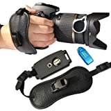 First2savvv OSH0401 Professional Wrist Grip black genuine leather hand Strap for FUJIFILM FinePix S4000 with card reader