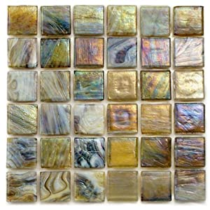 12 x 12 in truffle recycled glass multicolored mosaic