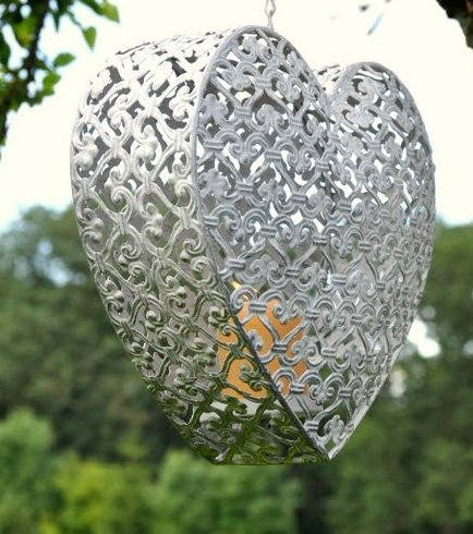 Large Heart Shaped Hanging Candle Holder for Garden Use