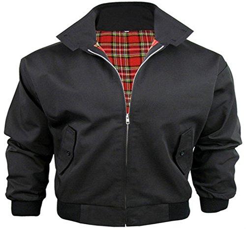 Harrington - Bomber da uomo, trendy, in stile vintage retrò anni '70, ideale per andare in moto, nero (nero), XXL