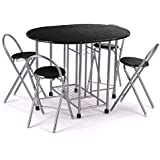 bofeifs Folding 5Pcs Breakfast Table and Chair Dining Set Without Baskets