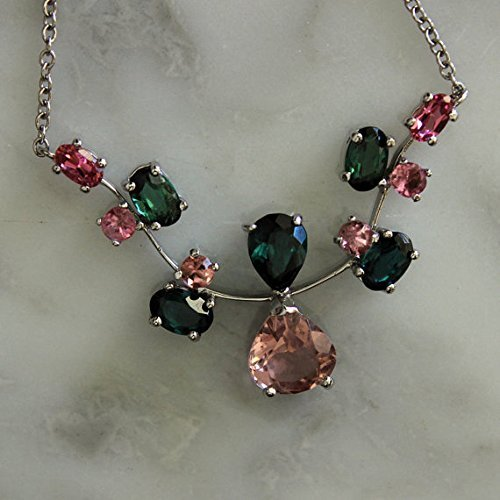 14K WG, Pink and Green Tourmaline Gemstone Necklace/Appraisal Included (Gem Appraisal compare prices)