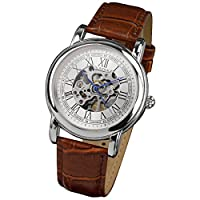 PACIFISTOR Men's Winding Up Mechanical Wrist Watch with White Dial Analogue Display Silver Case and Brown Leather Strap #PX-008-S-L
