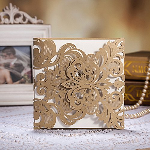 WISHMADE 50 Count Elegant Laser Cut Wedding Invitations Cards Kits Gold Champagne White Printbable Paper with Envelopes Sets