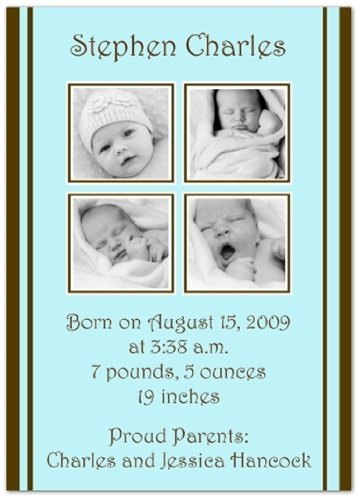 2 + 2 On Blue & Brown Birth Announcements - Set Of 20 front-1011220
