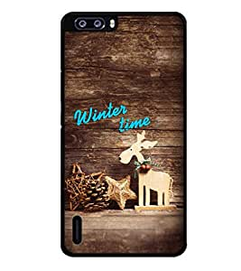 Fuson Premium Winter Time Metal Printed with Hard Plastic Back Case Cover for Huawei Honor 6 Plus