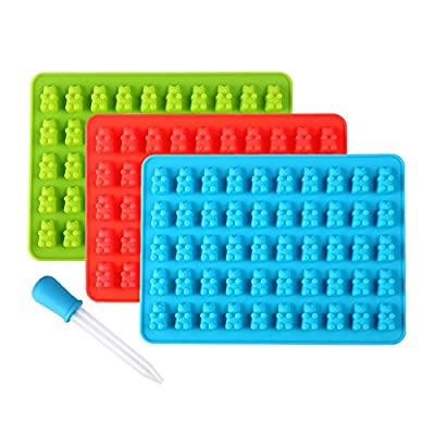 3 PCS Silicone Gummy Bear Molds 50 Cavities - BONUS DROPPER Novelty Candy Chocolate Silicone Bear maker Making 150 Bears on Trays (Blue, Green, Red) by Lizber