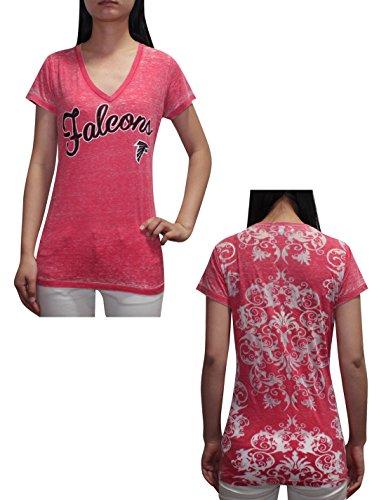 Nfl Atlanta Falcons Womens V-Neck Short Sleeve T-Shirt (Vintage Look) M Red